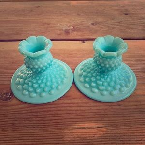 Vintage light turquoise Fenton candle holders